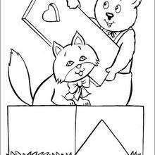 O urso Rechonchudo e gata Rosa para colorir