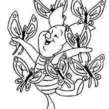 O porquinho e as borboletas para colorir GRATIS