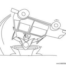 Desenho de um Super-herói com seu carro para colorir