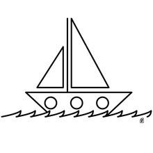Desenho de um veleiro no mar agitado para colorir