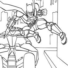 Desenho do Batman e do batmóvel para colorir