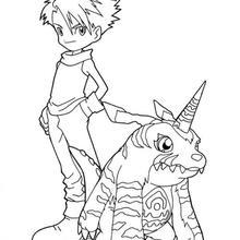 Desenho para colorir do Matt e do Gabumon