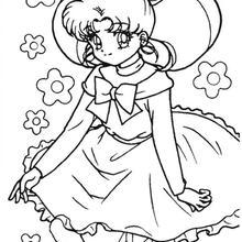 Serena com um vestido
