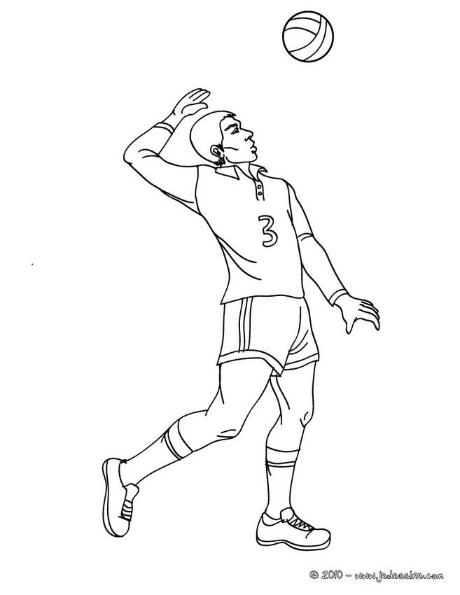Desenho de um jogador de Vôlei sacando por cima para colorir