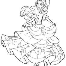 Corinne coloração em seu vestido bonito