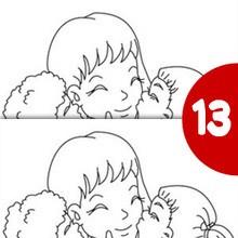 jogo das diferenças: Mãe abraçando seus filhos