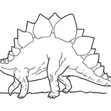 Desenho de um Estegossauro andando para colorir
