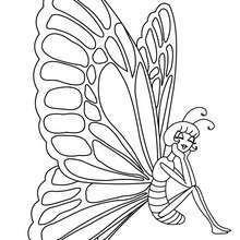 Imagem de uma Borboleta Kawaii para colorir online