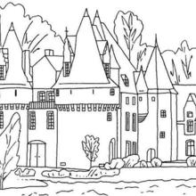 Desenho de um castelo rodeado por um fosso