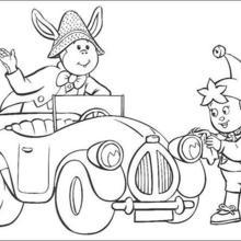Noddy e Bunkey limpando o carro