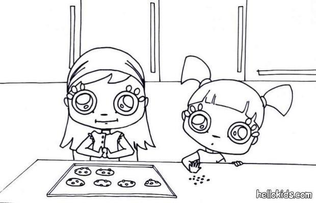 desenhos para colorir de desenho de meninas fazendo cookies para colorir. Black Bedroom Furniture Sets. Home Design Ideas