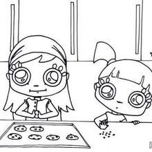 cozinhar, Desenho de meninas fazendo cookies para colorir
