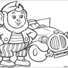 Orelhas e o taxi para colorir
