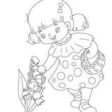 Desenho para colorir de uma menina colhendo um lírio-do-vale