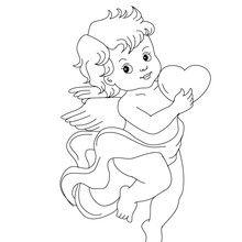 Desenho de um cupido voando com um coração para colorir