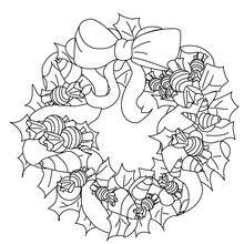Desenho de uma coroa de Natal doce para colorir