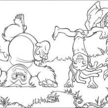 Colorindo Tarzan fazendo piruetas