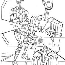 Os robôs atirando