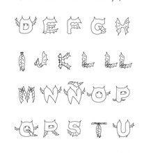 Alfabeto de morcego para colorir