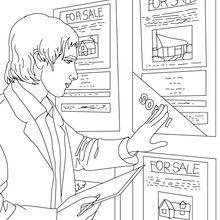 Desenho de um Agente imobiliário atualizando as publicidades para colorir