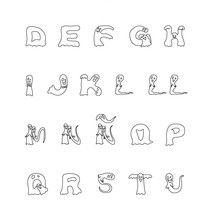 Alfabeto de fantasma para colorir