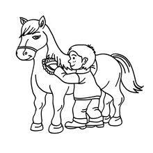 Desenho de um menino escovando um Cavalo para colorir