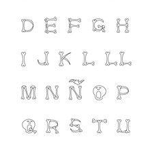 Letras do alfabeto com motivo de esqueleto para colorir