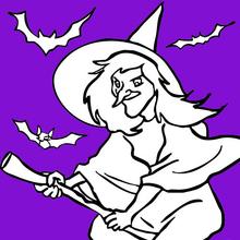 Desenho de uma bruxa voando com morcegos para colorir