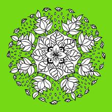 Mandala de flores com fadas