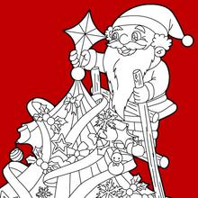 Desenho do Papai Noel enfeitando a árvore de Natal colorir