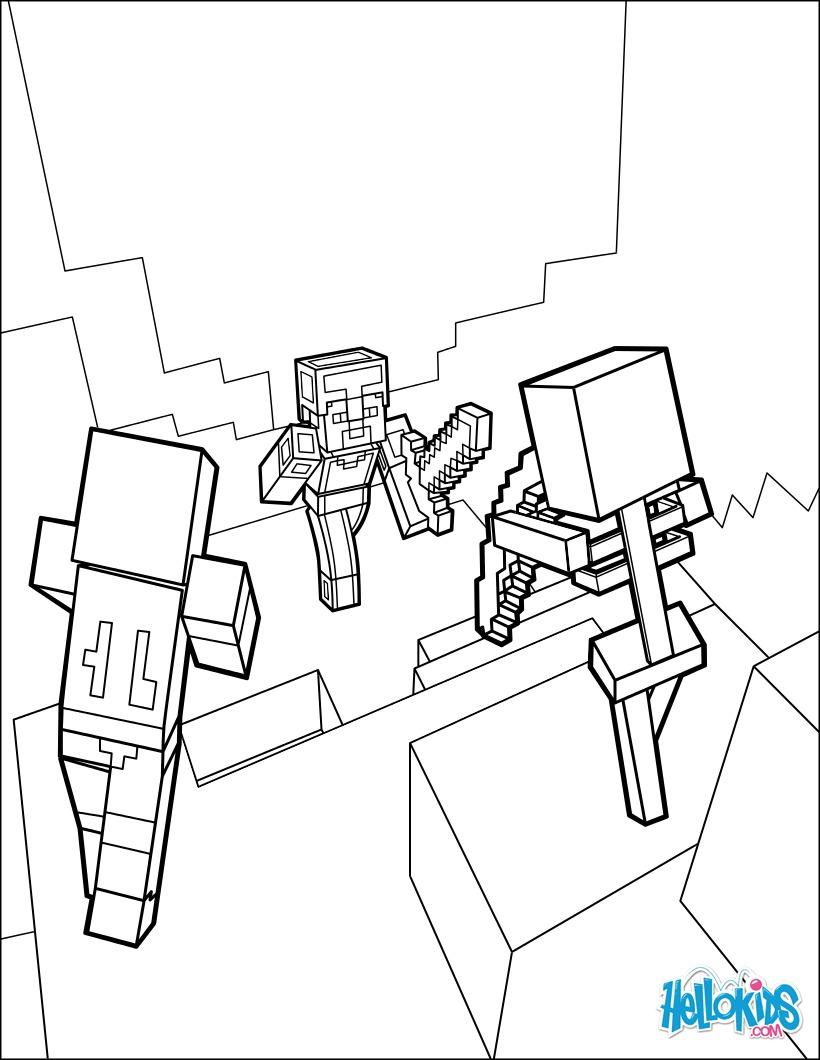 desenhos para colorir de minecraft para colorir dangerous dungeon