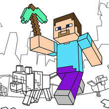 Minecraft para colorir - dar um passeio