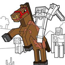 Página da coloração Minecraft - Montar a cavalo ao Horizonte