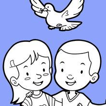 Amigos e uma pomba de paz
