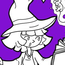 Pequeno Bruxa do Dia das Bruxas pratica magia
