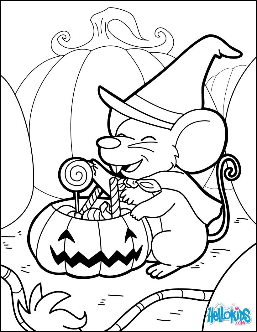 Um mágico camundongo que fabrica poções de halloween