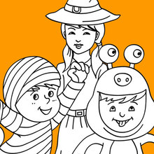 Desenho para colorir de Crianças fantasiadas pro Dia das Bruxas