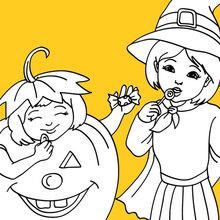 Desenho de crianças fantasiadas de abóbora e bruxa para colorir