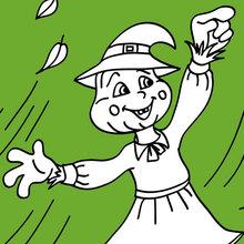 Desenho de um espantalho feliz do Dia das Bruxas para colorir