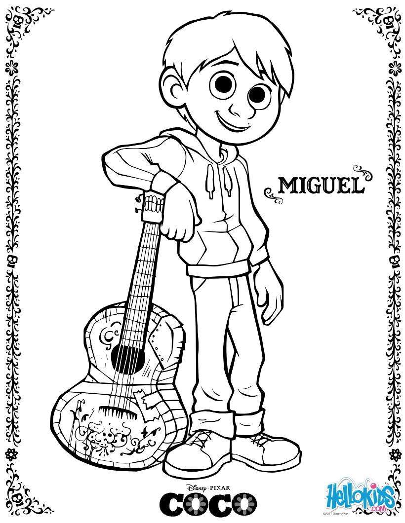 Disney coco Miguel para colorir