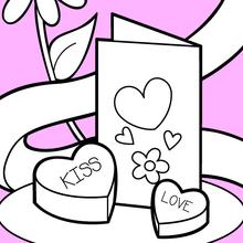 Cartão e chocolates de Valentim