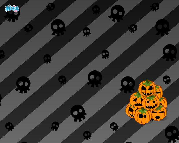 Crânios e abóboras do Dia das Bruxas